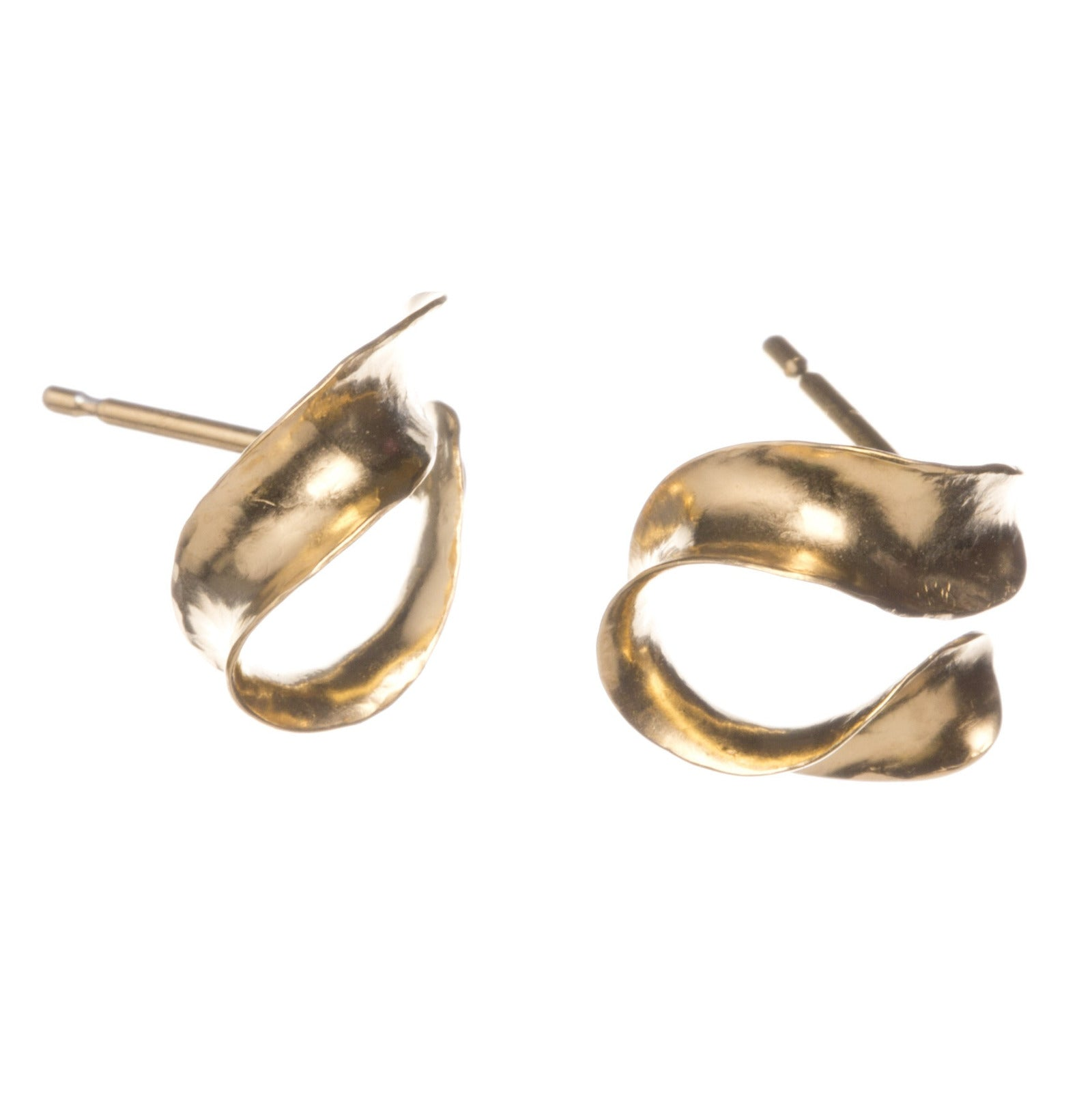 Gold vermeil Whorl Studs, giving two angles.