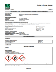 MSDS SHEETS for Andis Cool Care Plus