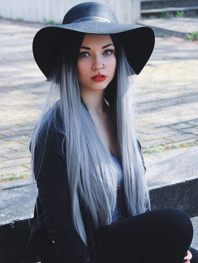 Black to Gray Straight Front Wig