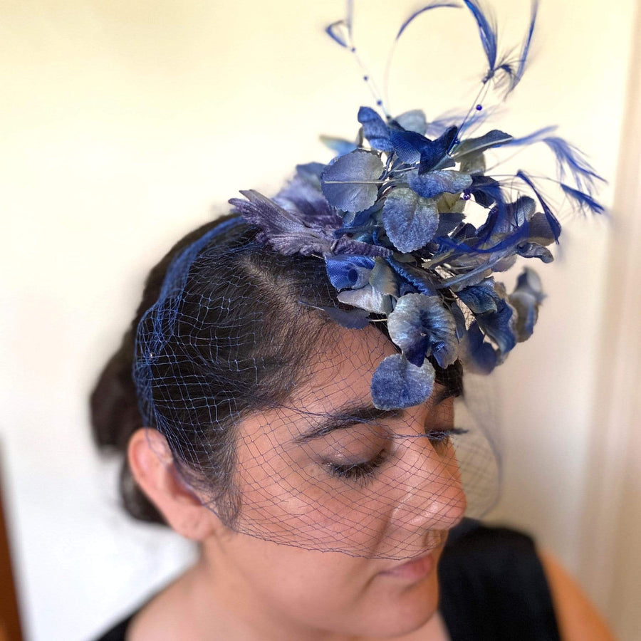 kristina iulo | a private vintage collection Accessories Vintage 1950s Blue Flower Veil Hat Whimsy Birdcage Fascinator