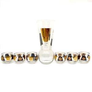 kristina iulo | a private vintage collection Bar & Kitchenware Vintage MCM Cera 22K Gold Black Coin Cocktail Pitcher Roly Poly Glass Barware Set