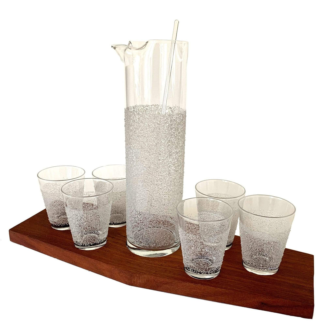 kristina iulo | a private vintage collection Bar & Kitchenware Vintage Mid-Century Modern Frosty Water Droplet Textured Cocktail Glass Pitcher Walnut Tray