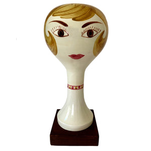 kristina iulo | a private vintage collection Decorative Objects Vintage Stangl Pottery Hand-Painted Ceramic Ladies Head Hat Wig Stand
