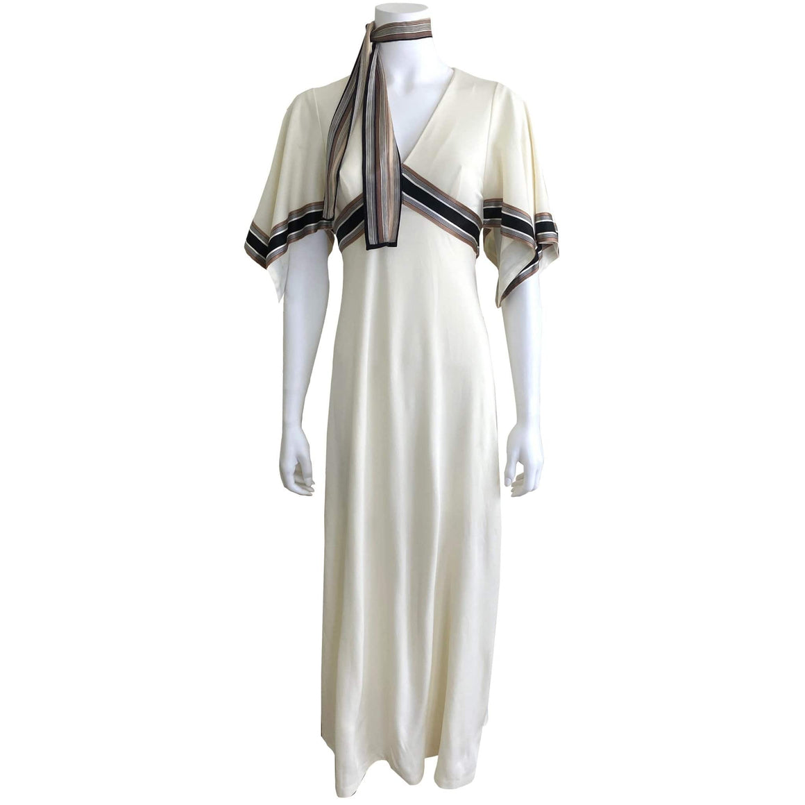 Vintage 1970s Allegro Cream Dress Silk Banded Handkerchief Sleeves Scarf - kristina iulo | a private vintage collection