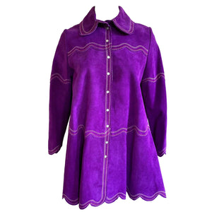 kristina iulo | a private vintage collection Jackets & Coats Vintage 1970s 'Gassy Jack' Ladies Purple Suede Embroidered Swing Jacket