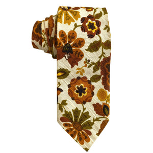 kristina iulo | a private vintage collection Men's Clothing & Accessories Vintage 1970s Autumnal Floral Tapestry Cotton Mens Necktie
