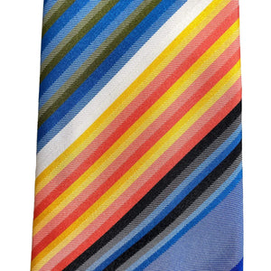 kristina iulo | a private vintage collection Men's Clothing & Accessories Vintage 1970s Stripe Blues Coral Gold Mens Necktie