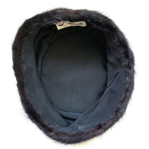 Vintage 1950s Black Mink Pillbox Hat Bambergers