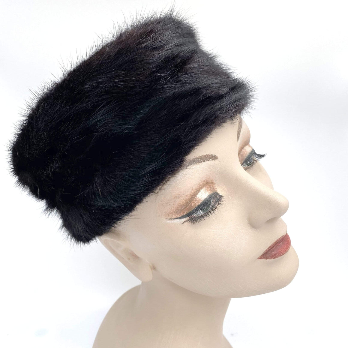 kristina iulo vintage collections Accessories Vintage 1950s Black Mink Pillbox Hat Bambergers