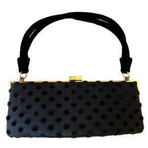 kristina iulo vintage collections Accessories Vintage 1950s Black Polka Dot Gold Trim Evening Bag by Ingber