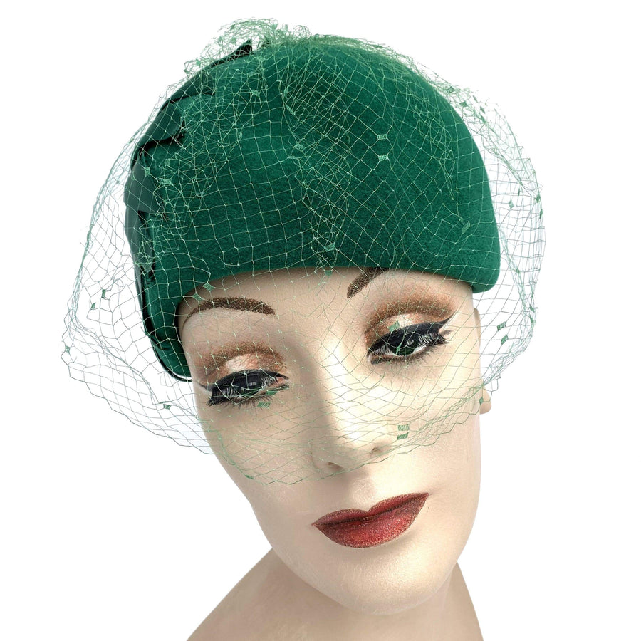 kristina iulo vintage collections Accessories Vintage 1950s Emerald Green Wool Satin Netted Cloche Hat Arnold Constable