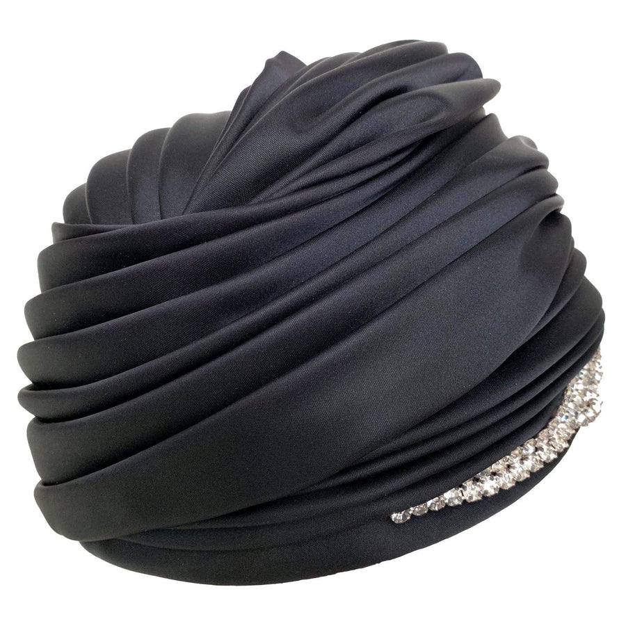 kristina iulo vintage collections Accessories Vintage 1960s Christian Dior Chapeaux Black Satin Rhinestone Turban Hat Original Tags