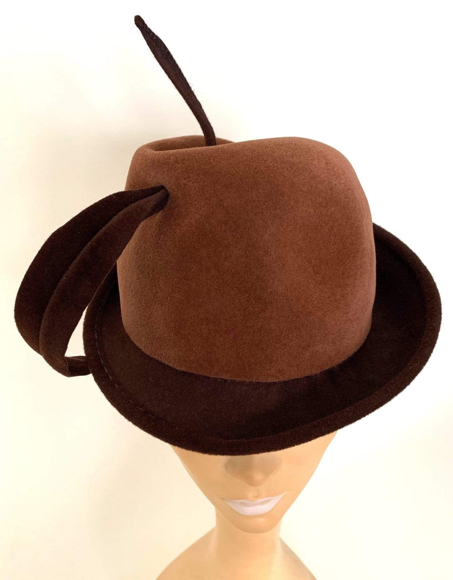 kristina iulo vintage collections Accessories Vintage 1960s Ladies Brown Wool Fedora Plumed Hat Mr. John Classic