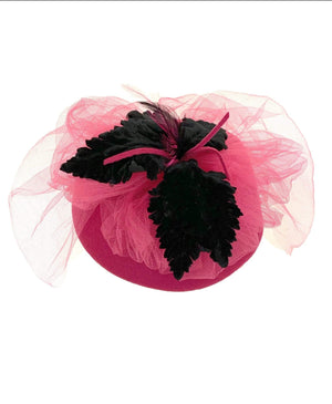 kristina iulo vintage collections Accessories Vintage 1970s Bright Pink Pillbox Hat Black Velvet Feathers Tulle Ernie