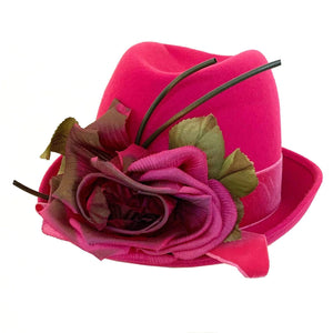 kristina iulo vintage collections Accessories Vintage 1970s Bright Pink Wool Velvet Fedora Hat Fabric Flowers Mr. Richard