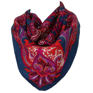kristina iulo vintage collections Accessories Vintage 1970s Fuchsia Teal Jewel Toned Paisley Silk Scarf Liberty of London