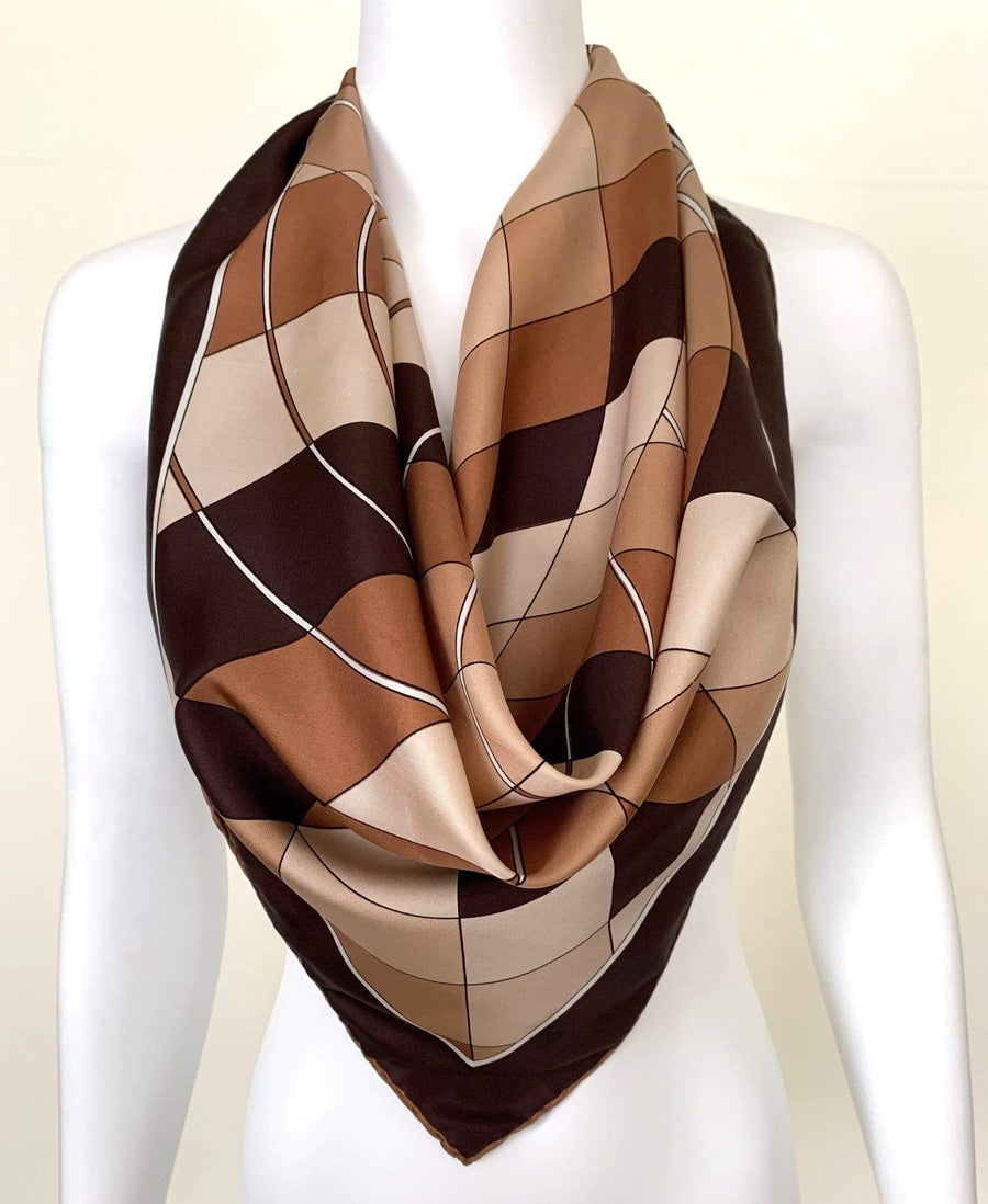 kristina iulo vintage collections Accessories Vintage Abstract Fan Pattern Cream Brown French Silk Scarf