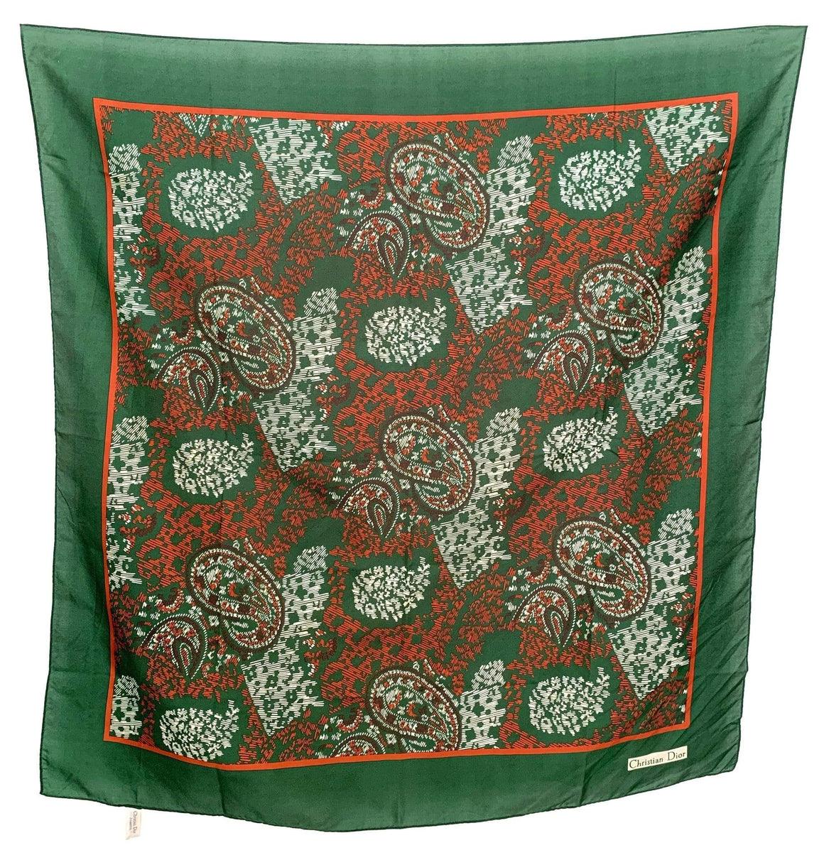 kristina iulo vintage collections Accessories Vintage Christian Dior Oversize Green Burnt Orange Paisley Silk Scarf