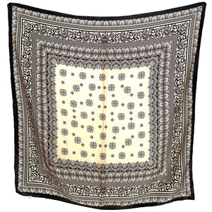 kristina iulo vintage collections Accessories Vintage Elegant Classic Cream Black Pattern Silk Scarf Hua Li