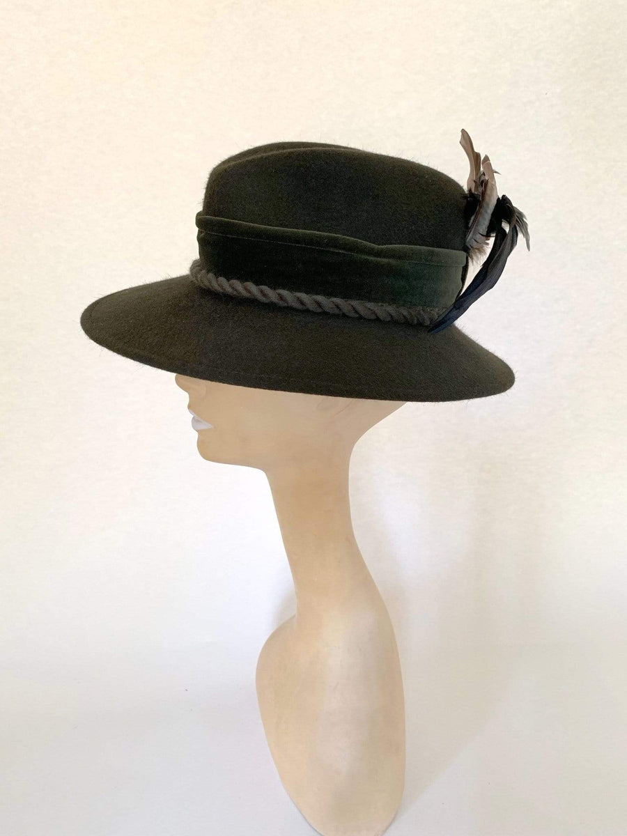 kristina iulo vintage collections Accessories Vintage Traditional Ladies Austrian Green Wool Plumed Feather Fedora Sportalm Kitzbuhel