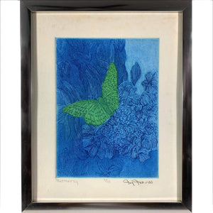 kristina iulo vintage collections Art Vintage 1970s Blue Green Abstract Mod Butterfly Etching Print Joy Jerviss