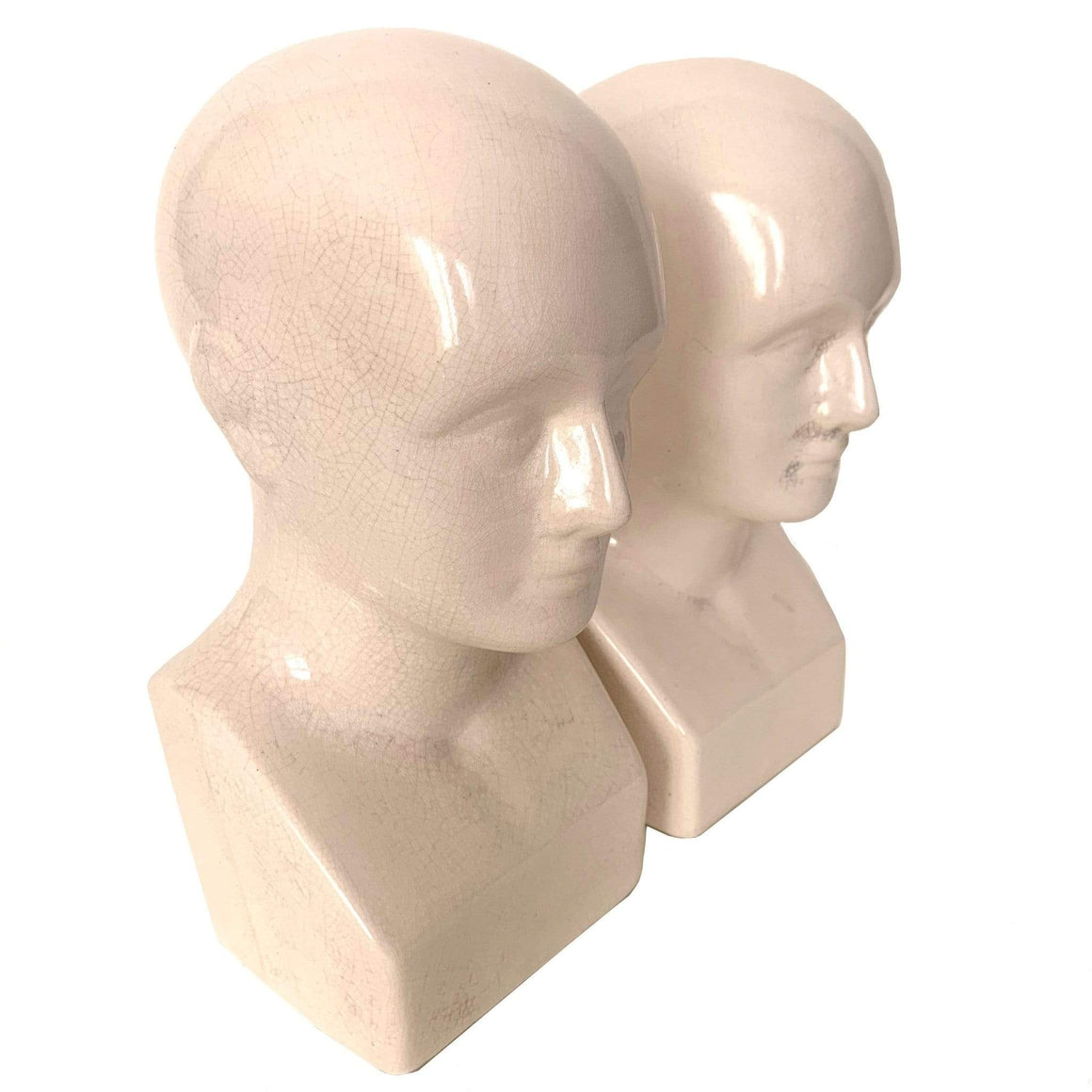 kristina iulo vintage collections Decorative Objects Vintage 1960s Ceramic Phrenology Repro Head Pair