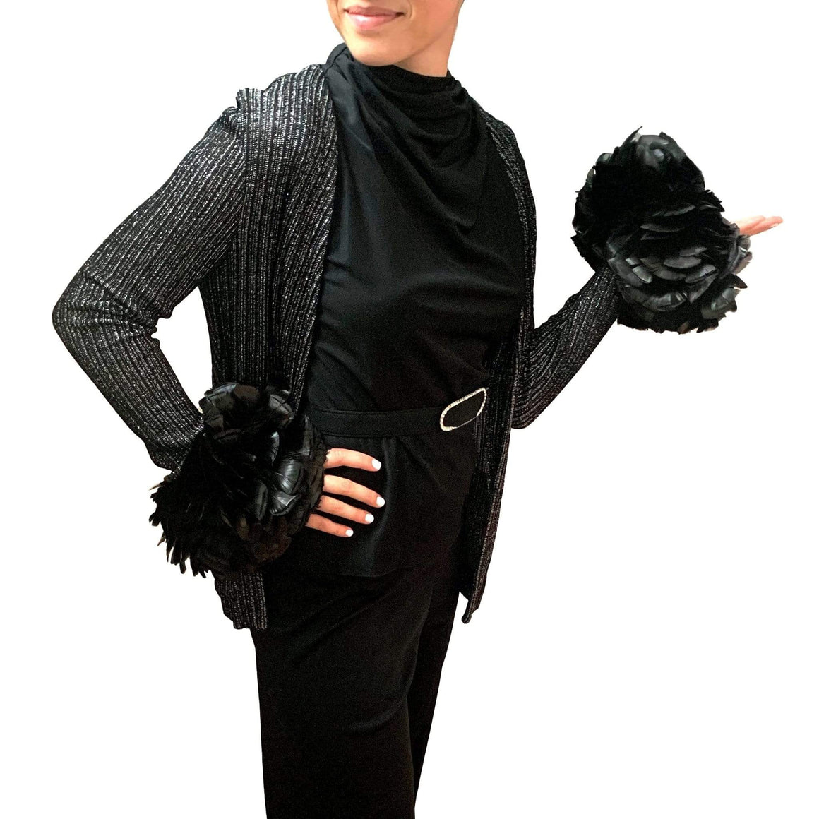kristina iulo vintage collections Dresses & Suits Vintage 1970s Black Silver Metallic Pantsuit Feather Boa Cuffs Rhinestone Belt
