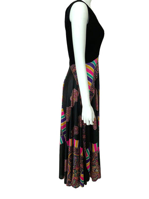 kristina iulo vintage collections Dresses & Suits Vintage 1970s Black Velvet Multi-Color Full Twirl Elinor Gay Gown