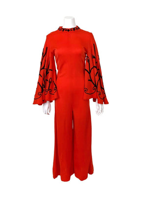 kristina iulo vintage collections Dresses & Suits Vintage 1970s Lipstick Red Embroidered Butterfly Sleeve Bell Bottom Jumpsuit Miss Jane Miami