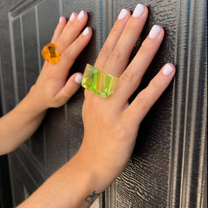 kristina iulo vintage collections Jewelry Vintage 1960s Mod Green Orange Chunky Lucite Ring Set