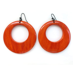 kristina iulo vintage collections Jewelry Vintage 1970s Mod Large Red-Orange Molded Plastic Hoop Earrings