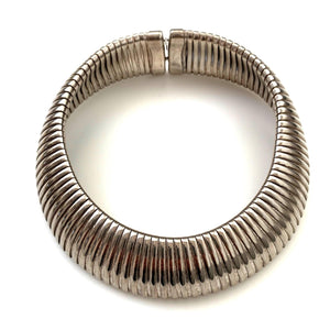 kristina iulo vintage collections Jewelry Vintage Slinky Chunky Silver-Tone Collar Choker Necklace