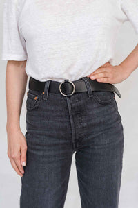 SIA LEATHER BELT BLACK/SILVER - WE BANDITS