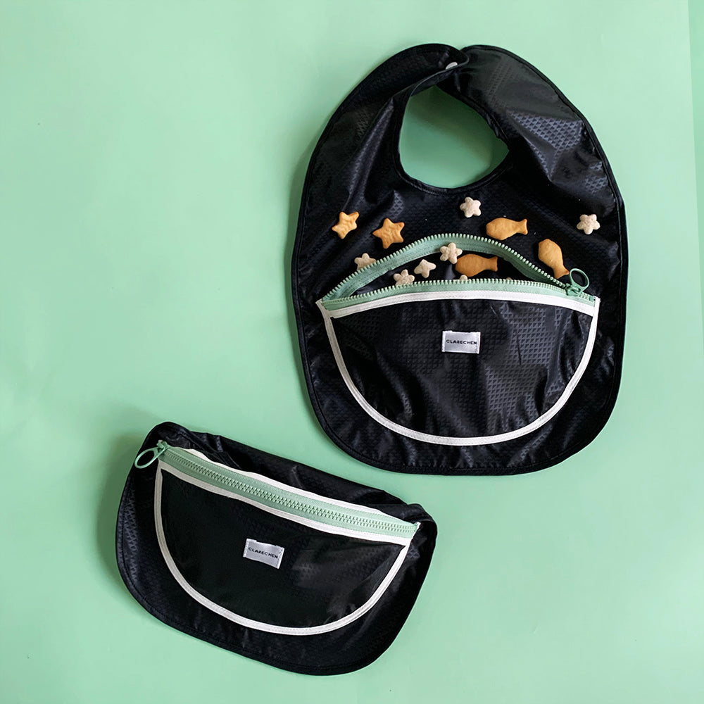 Snack bib_bowl pocket_black with zipper