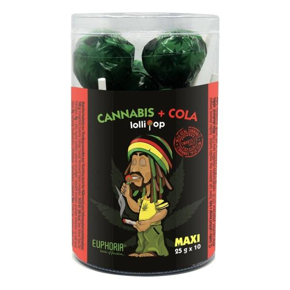 Euphoria Cannabis + Cola Maxi Lollipops 25g x 10pcs - Lovely Liquid