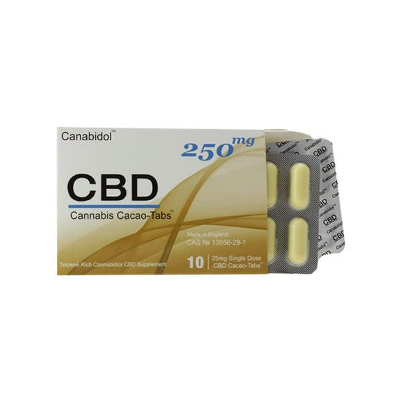 Canabidol 250mg CBD Cacao-Tabs 10 Capsules