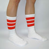 "SKATER SOCKS 19"" WHITE W ORANGE STRIPES - Skatescool Australia"