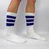 "SKATER SOCKS 19"" WHITE W PURPLE STRIPES - Skatescool Australia"