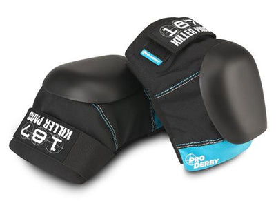187 Pro Derby Knee Pads Black/Teal - Skatescool Australia
