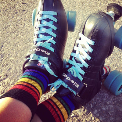 PRIDE BRAVE LOW CUT TUBE SOCKS BLACK W RAINBOW - Skatescool Australia