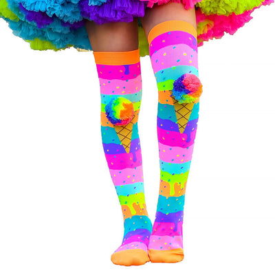 MADMIA ICE CREAM W RAINBOW POM POM (AGED 6-ADULT) KNEE HIGH SOCKS - Skatescool Australia