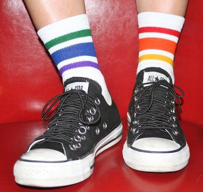 PRIDE COURAGE LOW CUT TUBE SOCKS WHITE W RAINBOW - Skatescool Australia