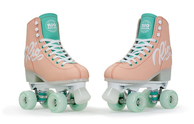 RIO SCRIPT ROLLER SKATES PEACH AND GREEN - Skatescool Australia