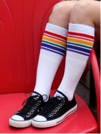 "PRIDE FEARLESS 22"" TUBE SOCKS WHITE W RAINBOW KNEE HIGH - Skatescool Australia"