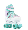 SFR SPECTRA KIDS ADJUSTABLE QUAD SKATES - PINK GREEN - Skatescool Australia