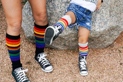 "PRIDE POWER 22"" TUBE SOCKS BLACK W RAINBOW KNEE HIGH - Skatescool Australia"