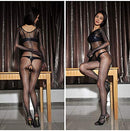 Oil Shine Black or Beige Encased Body Suit Pantyhose Tights With Open, Closed or Sheath Crotch For Woman