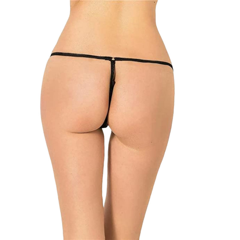 Exotic Black G-String With Front Zipper