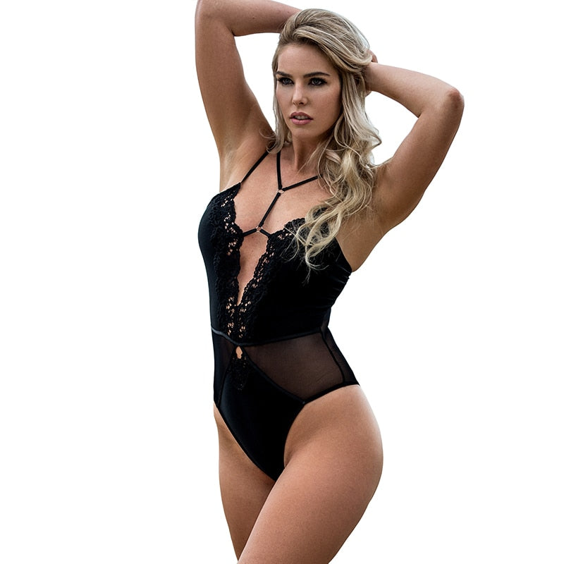 Black Mesh Bodysuit Strappy Skinny Body Dentelle Femme Transparent Lace Woman Body Top Short Jumpsuits For Women 2019 RS80817