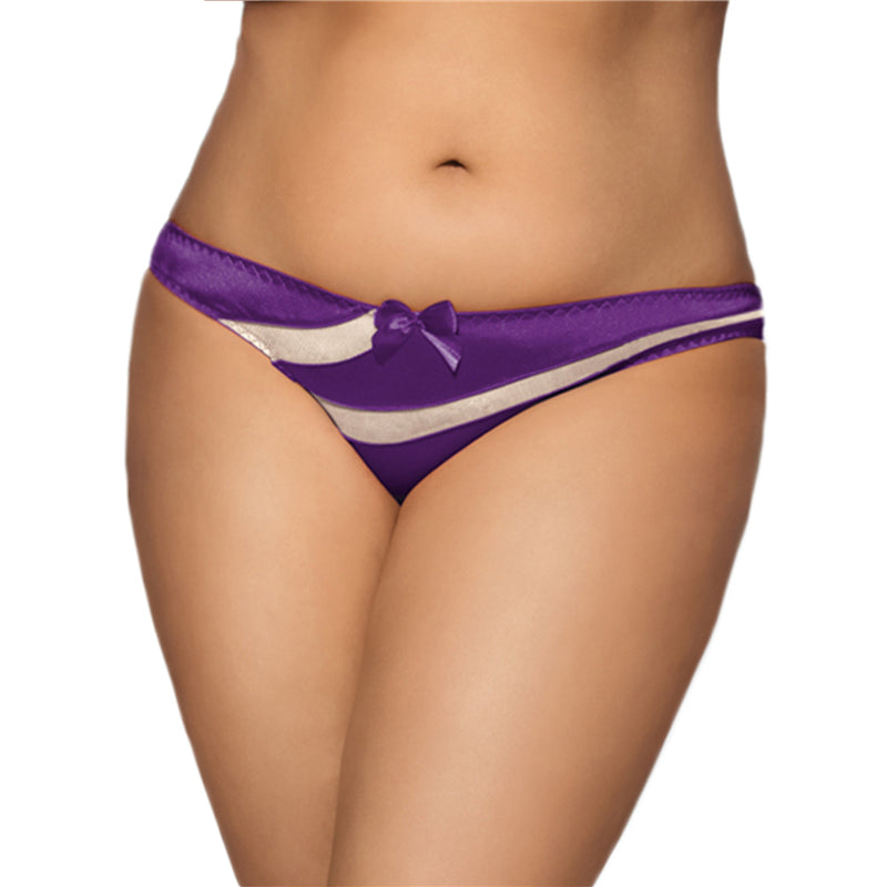PS5097 Sexy Thong Underwear 4 Colors Low Rise Panties Female Solid See Though Sexy Plus Size Panties With Bow Lady's Brief